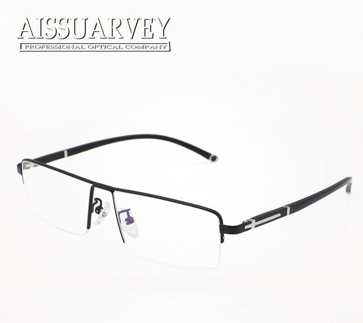 Wholesale- Men Glasses Frame Optical Half Rim Titanium Alloy Plastic ...