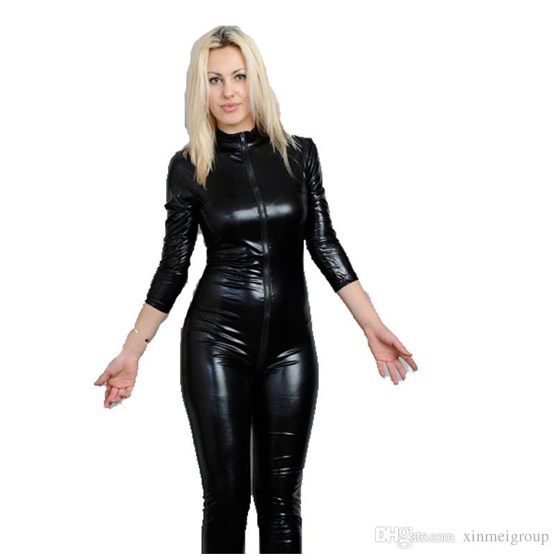 Women Clothing Black Latex Erotic Catsuit Zip Front Faux Leather Sexy Costume Bodycon Jumpsuit Clubwear Bodysuit W7904