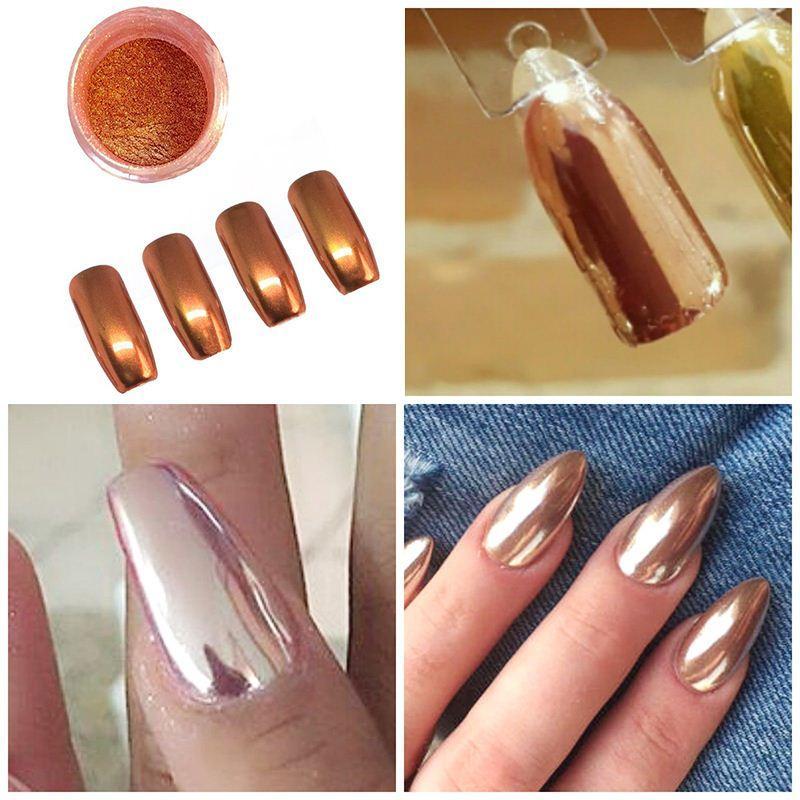 Shinny Zilver Vlokken Glitter Rose Gold Mirror Chrome Powder Effect ...