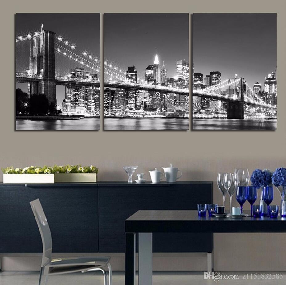 Hot Sell Modern wall Painting New York Brooklyn bridge Home wedding Decorative Modular Picture Print on Canvas no framed