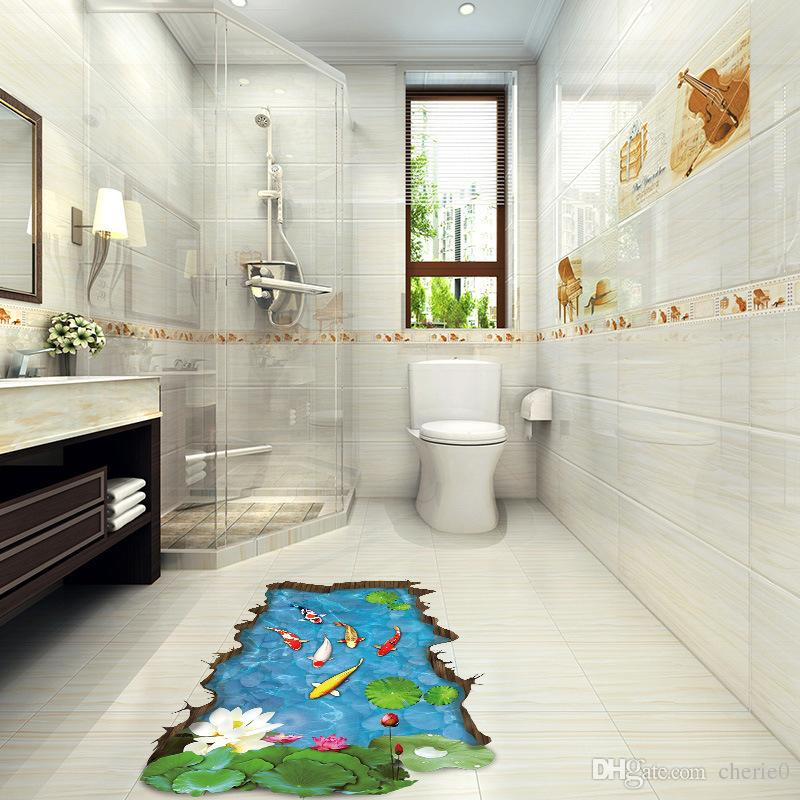 fish floor tile 3d fish pond cartoon flower leaf goldfish lotus bedroom living
