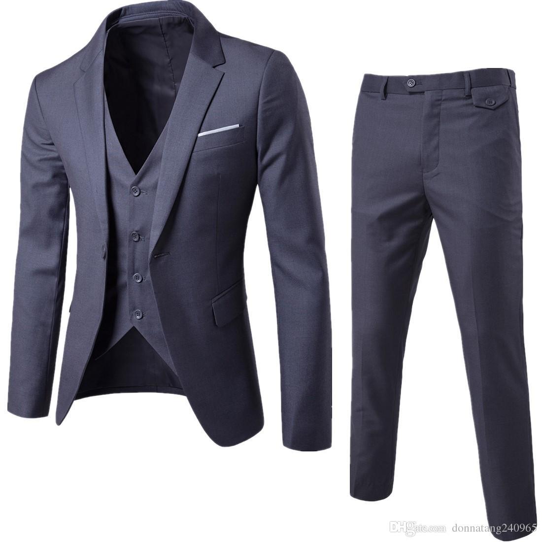 2018 Nova Moda Designer Homens Terno Do Noivo Smoking Padrinhos Ventilador Side Slim Fit Melhor Homem Terno de Casamento dos homens Ternos Noivo Jaqueta + Calça + colete