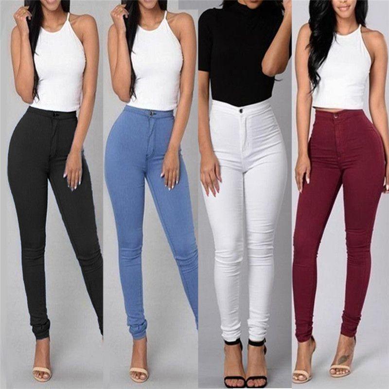 c7c4136ca448d5 Femmes Jeans Pantalon Femme Fille Taille Haute Stretch Crayon Pantalon Mode  Skinny Minceur Fit Pantalon Plus La Taille Loisirs Crayon Pantalon
