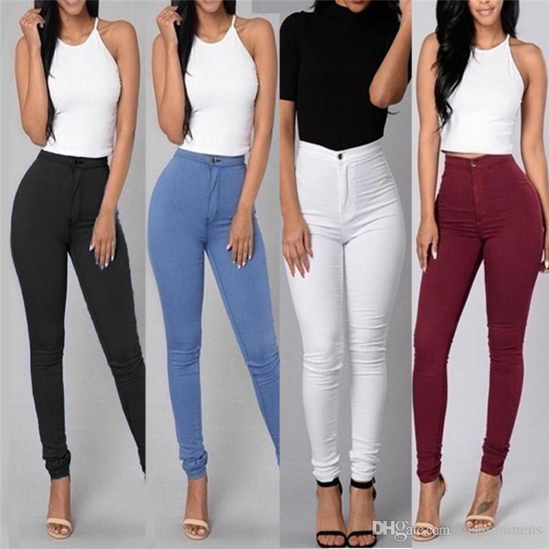 Compre Pantalones Vaqueros De Las Mujeres Femeninas De La Cintura Alta  Pantalones Elásticos De La Manera Pantalones Ajustados Adelgazantes Flacos  De La ... 8192f10c6616