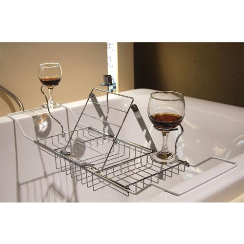 2018 Bathtub Rack Tray And Caddy Bathroom Wine Glass Racks With ...
