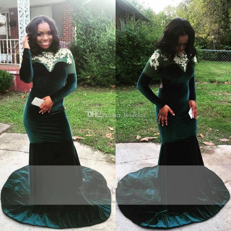 2020 African Black Long Sleeve Backless Emerald Green Prom Dresses Mermaid Velvet Evening Party Gowns Long vestido longo