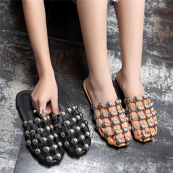 professional free shipping amazing price Cheap Ladies Plus Street Fashion Scuffs Studded Rivet Caged Slippers Women Casual Shoes Summer Slip On Flat Slides Black White buy cheap with credit card original cheap price qXfJ7WOKOc