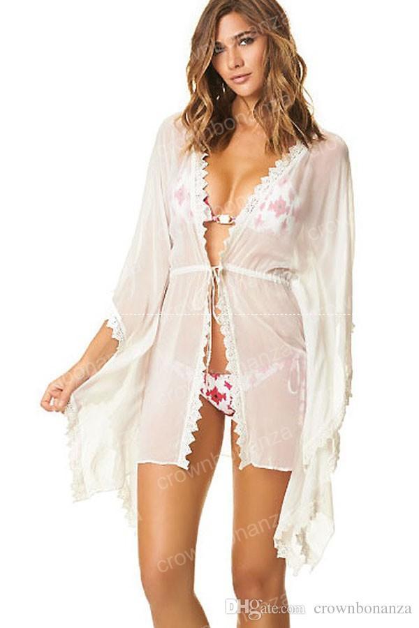 여름 수영복 여성 Kaftan Beach Cover Up 섹시한 흰색 시폰 비치 카디건 비키니 수영복 Cover Ups Beach Wear