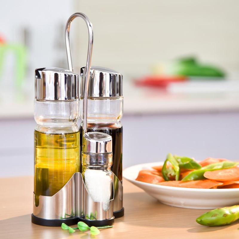 2019 Clear Glass Olive Oil Vinegar Salt Pepper Set Oil Vinegar