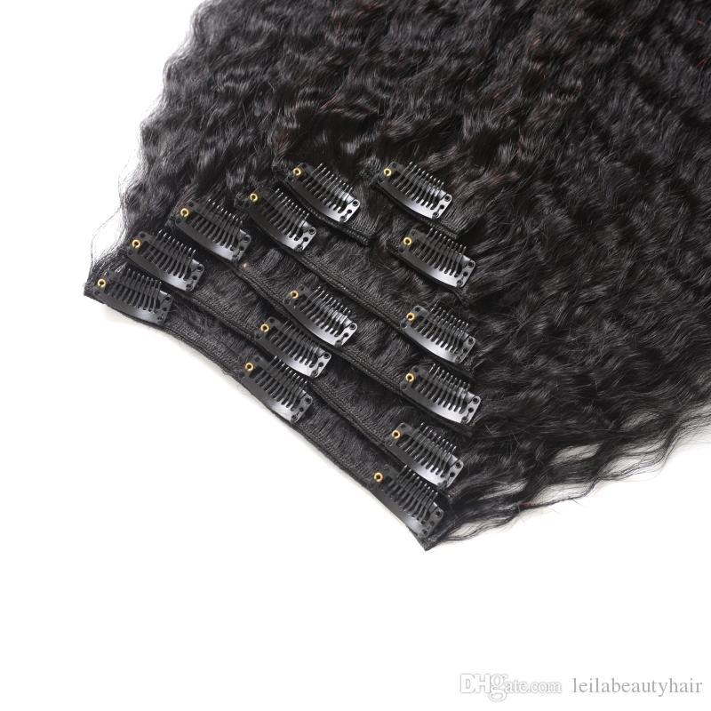 Capelli umani malesi 7 pezzi SET Kinky Straight Clip nelle estensioni di trama dei capelli naturale nero grezzo Yaki capelli umani tesse