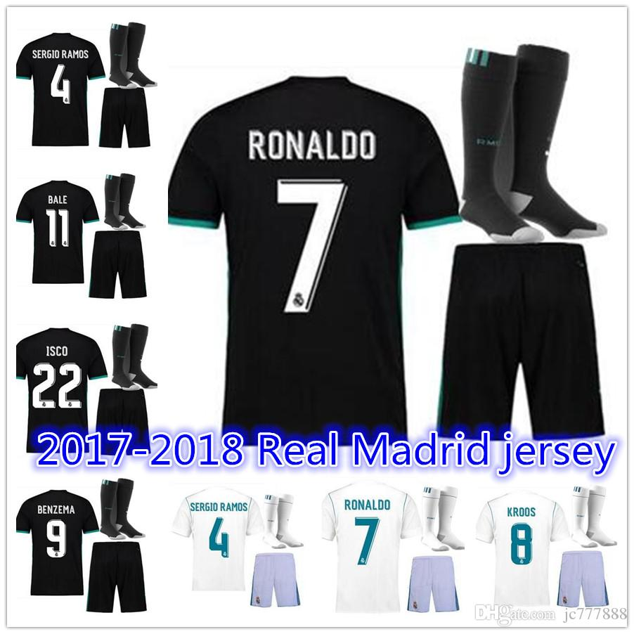 Thai Quality 2018 New Real Madrid Home White Soccer Jersey Kit+sock ... 2d12c5672
