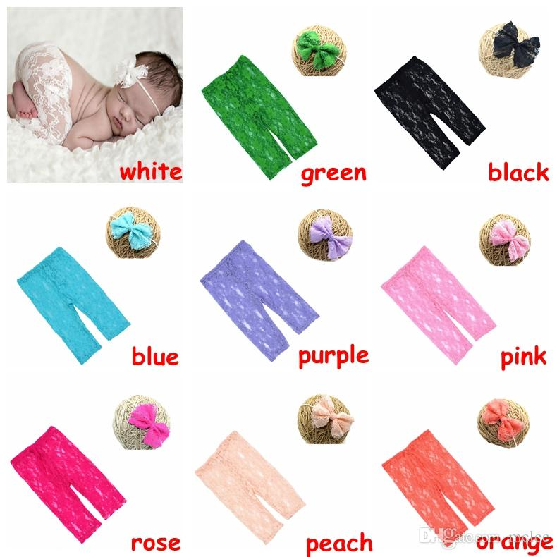 Newborn Summer pants Infant Lace Pants with matched Floral Headband Baby solid color Shower Gift Photography props set