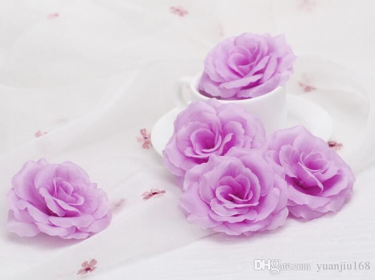 Högkvalitativ 8cm Artificiell Silk Rose Flower Head for Wedding Home Decoration R FH91702