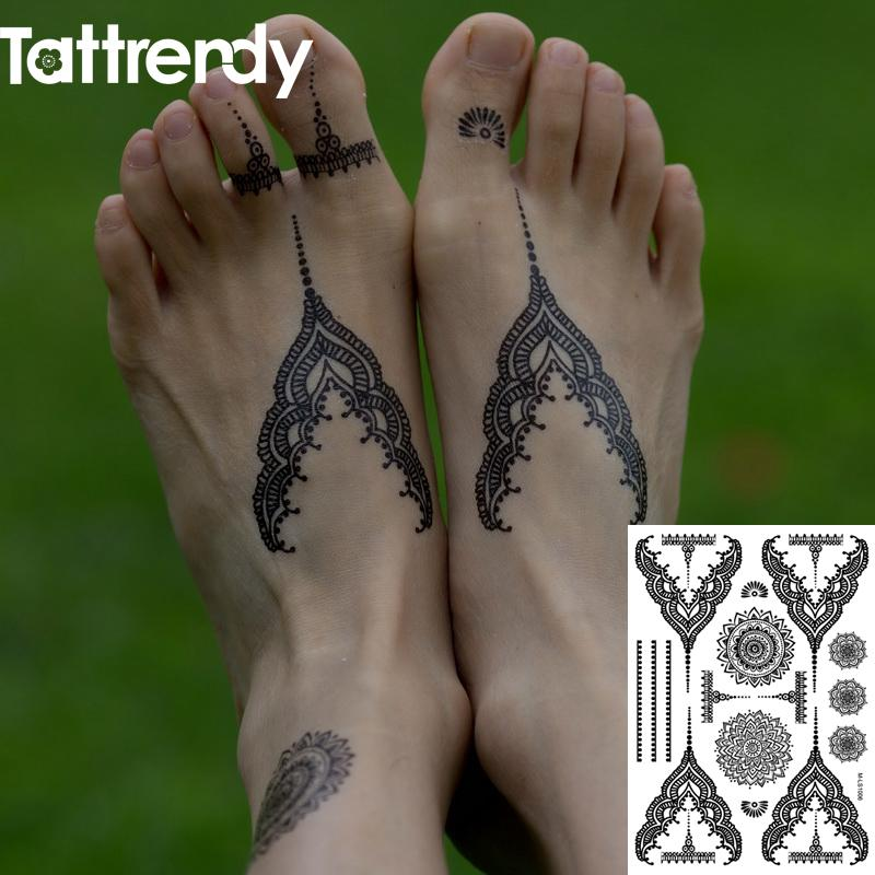 c44cc337b Wholesale Temporary Tattoos Flash Body Art Fake Tattoo Stickers Henna Black  White Lace Choker New Indian 2016 On Body Foot Hand S1006B Paw Print  Temporary ...