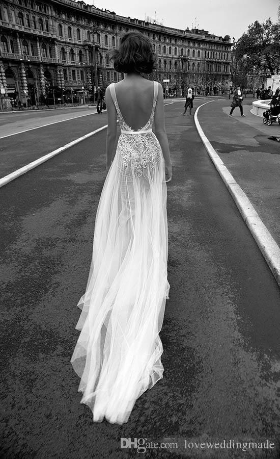 Sexy Durchsichtig Spitze Brautkleider 2017 Liz Martinez V-Ausschnitt Backless bodenlangen Brautkleider Lange Röcke Mädchen Süß