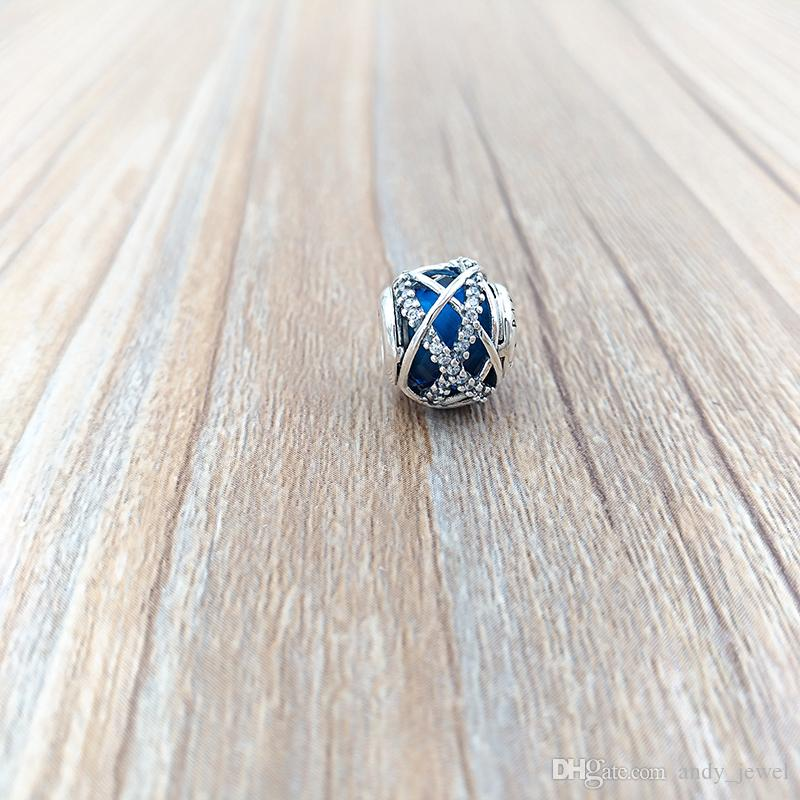Otantik 925 Gümüş Boncuk Royal Blue Galaxy Charms Avrupa Pandora Stil Takı Bilezikler Kolye 796361NCB uyar