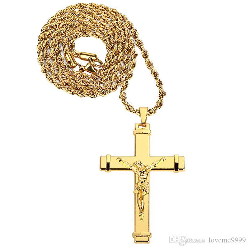 Высокое качество 24 к позолоченный Иисус Христос крест кулон ожерелье хип-хоп рэп Золотой распятие кубинская цепь ожерелье мужчины ювелирные изделия