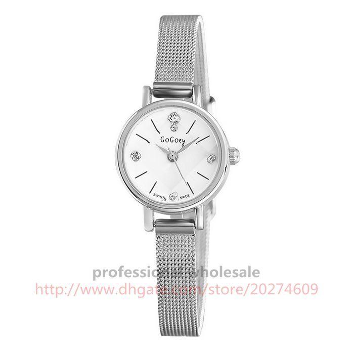 Reloj de las mujeres de Plata Rosa de Oro Superfino de Aleación de Acero Rhinestone Dial Brazalete de Dos Punteros Joyería Reloj de Pulsera Para Las Mujeres
