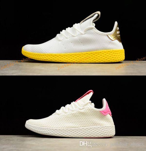 9e29a93aca2e6 Pharrell Williams HUMAN RACE Tennis Hu White Green BA7828 White Yellow  BY2674 Multi Color Ice Blue Shoes Wholesale   Drop Shipping Lightweight Running  Shoes ...