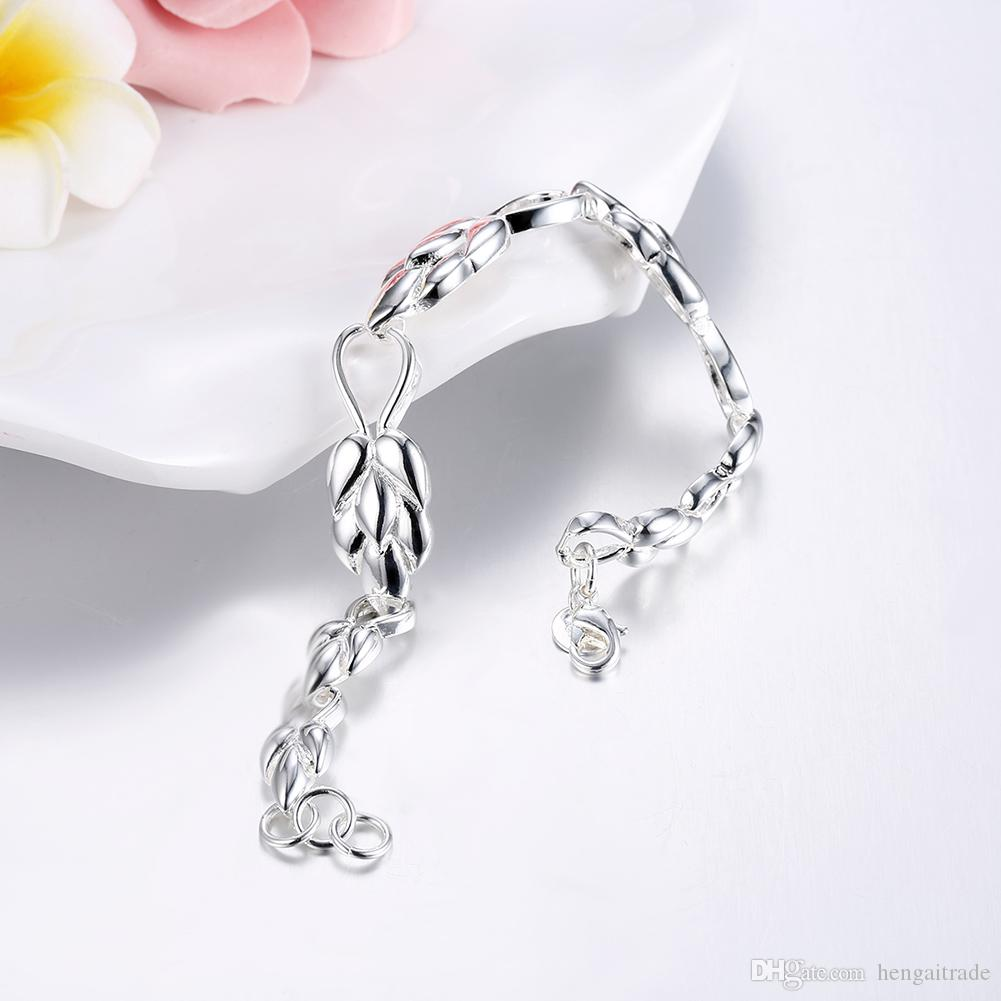 Wholesale 925 Sterling silver plated Lobster-claw-clasps charm bracelets LKNSPCH327