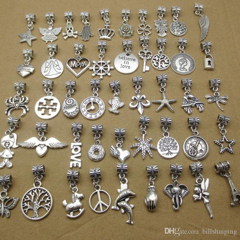 15pcs Dangle Antique Silver Cross Charm Big Hole Beads Fit European Charm