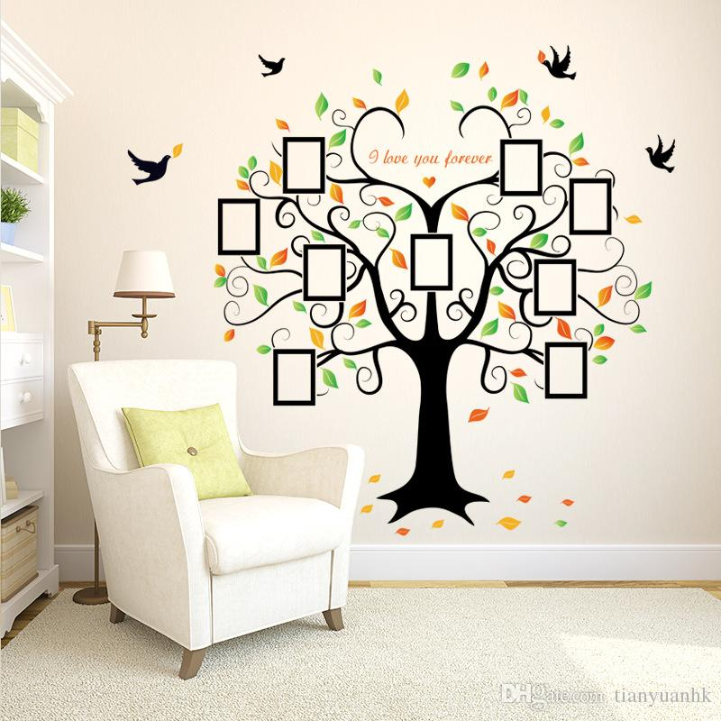 european wall stickers sk2010w heart shaped picture frame big tree