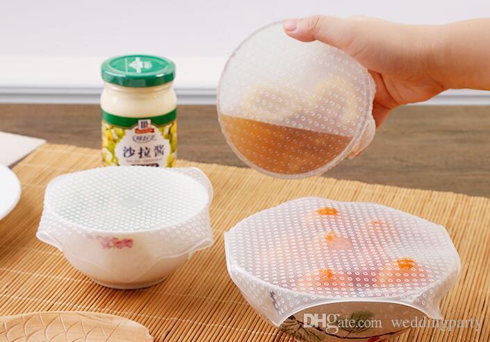 50 مجموعة 4 قطعة / المجموعة متعددة الوظائف حفظ الأغذية الطازجة ساران التفاف أدوات المطبخ reusable سيليكون الغذاء الأغطية ختم فراغ غطاء