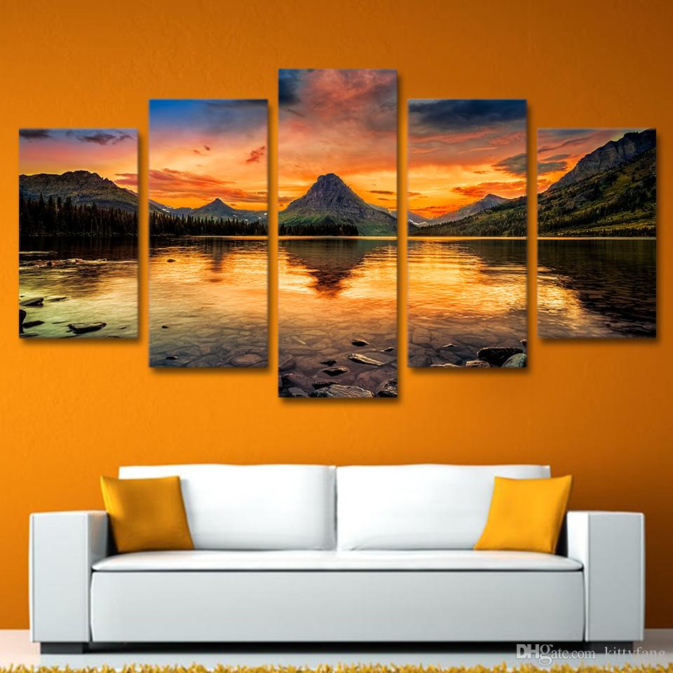 HD Printed scenery medicine lake glacier Painting Canvas Print room decor print poster picture canvas /ny-4331