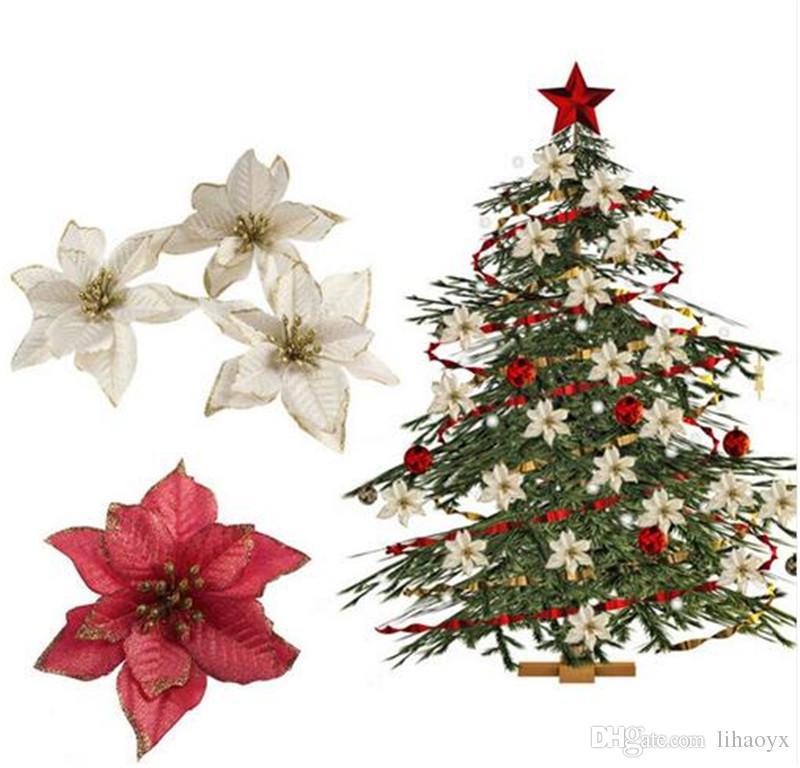 Fiori Bianchi Per Albero Di Natale.Acquista 13 Cm 5 11 E Lampeggiante Poinsettia Ornamenti Albero Di