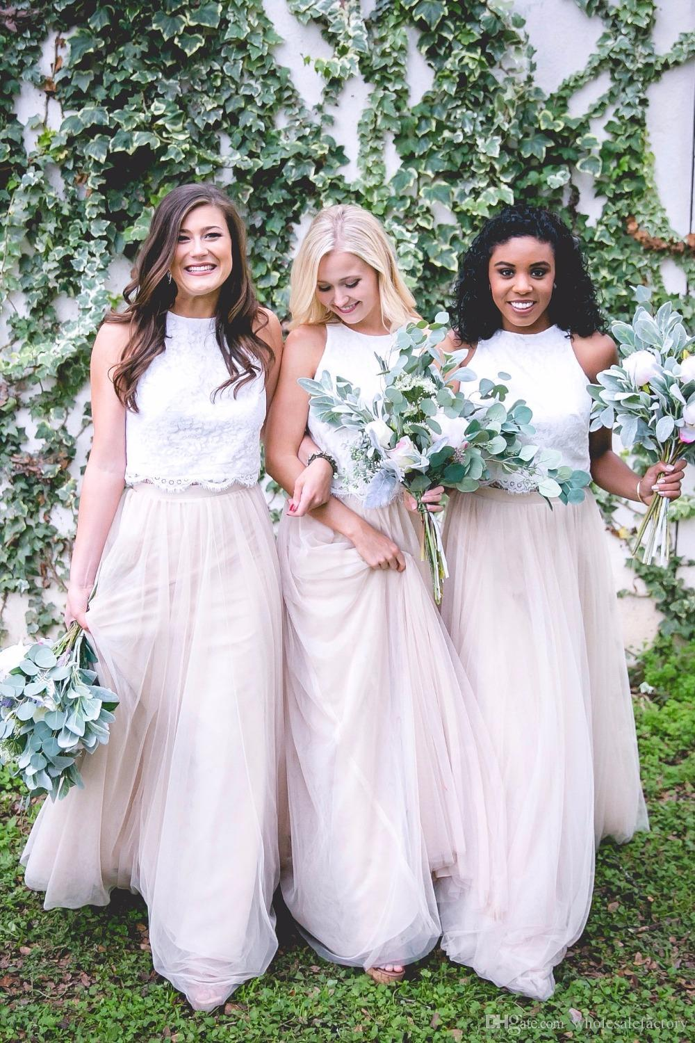 Hot Summer Garden Lace Tulle Bridesmaid Dresses Cheap 2017 A Line Two Pieces Halter Neck Long Maid of Honor Wedding Guest Dresses