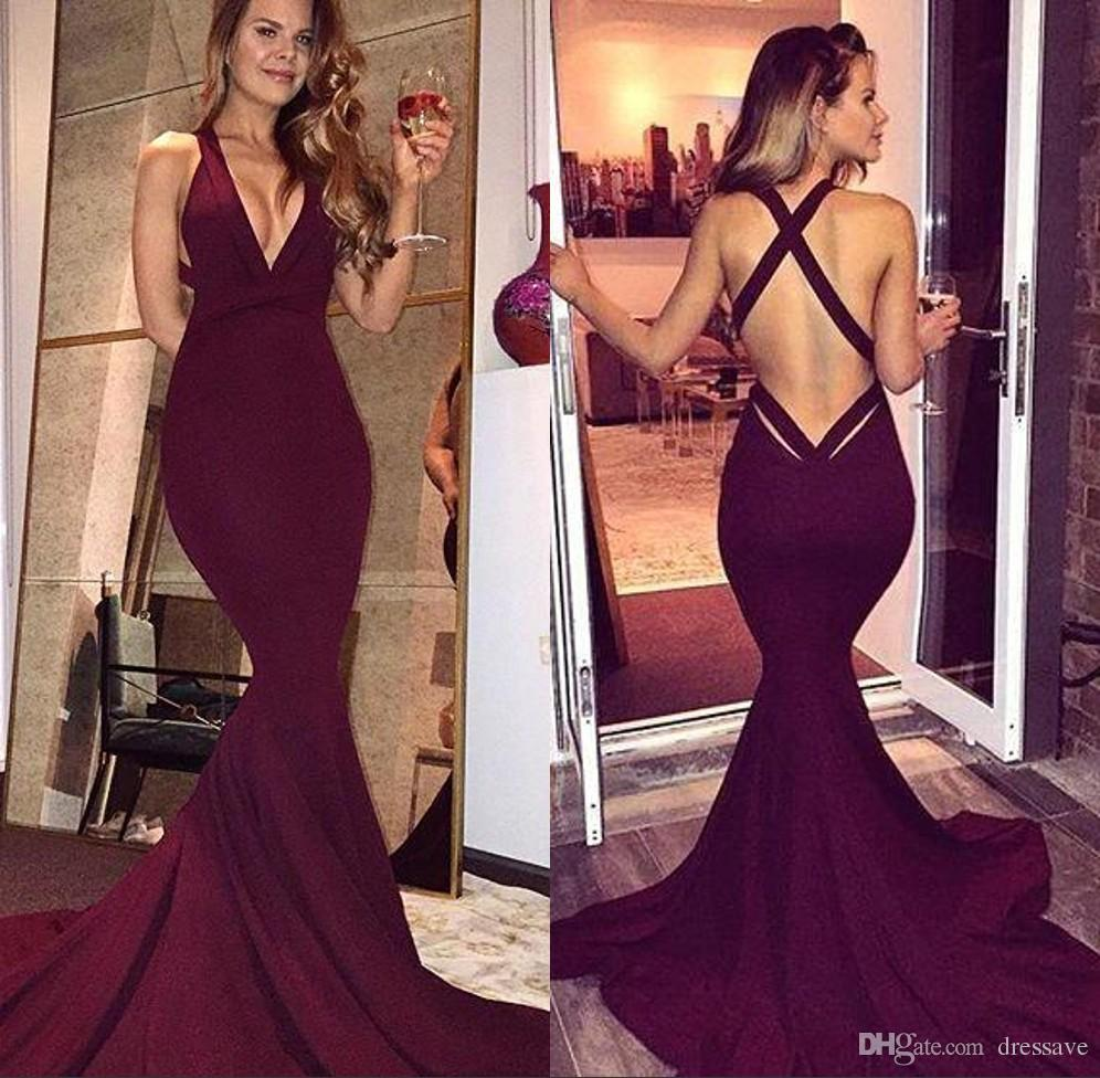 Simple Burgundy Prom Dresses 2017 Sexy Mermaid Backless Sleeveless ...