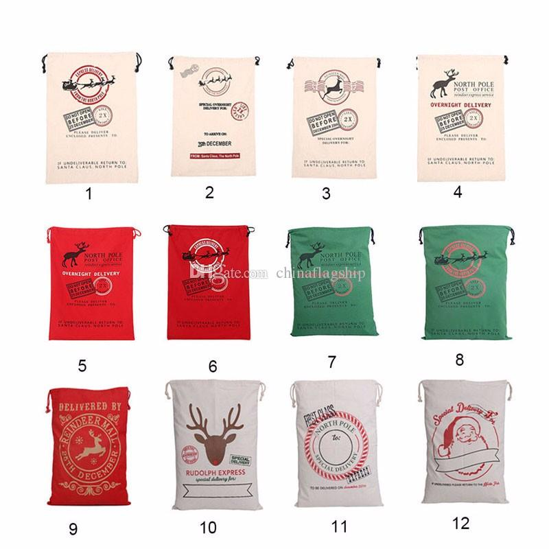 Beautiful Christmas Gift Bags Large Organic Heavy Canvas Bag Santa Sack Drawstring Bag With Reindeers Santa Claus Sack Bags for kids