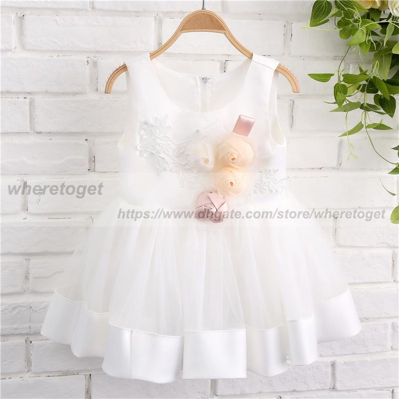 real picture 2019 white princess ball gown flower girl dresses tea length lace Lovely jewel neck Cheap girls pageant Communion dresses