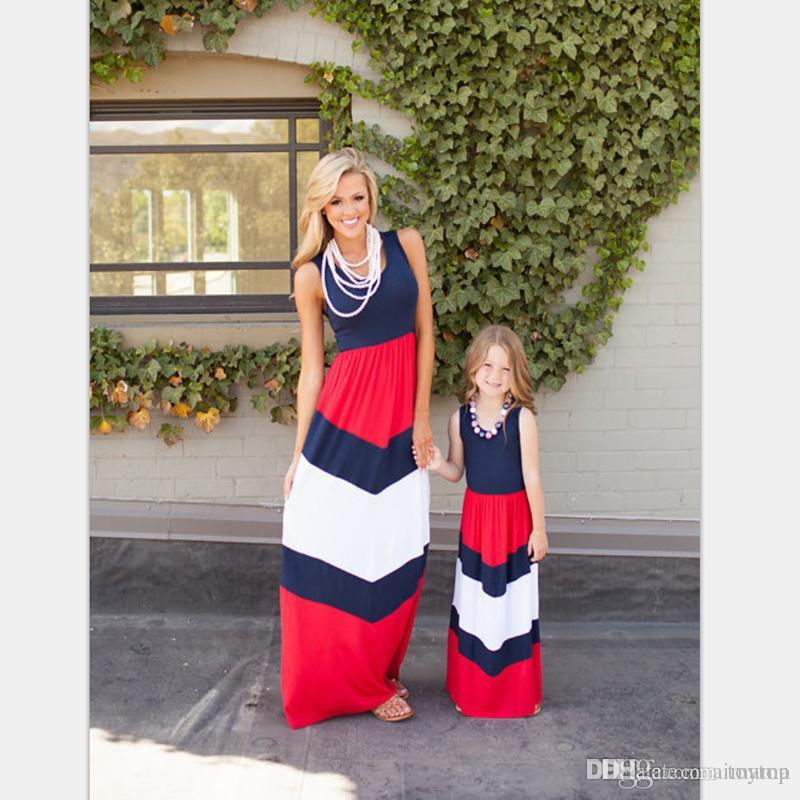 be613aadd3c5 Top Quality New Matching Outfits Blue And Red New Kids Clothing Stripe  Sleeveless Casual Mother Daughter Dresses Clothes Mommy And Me Matching Mom  Daughter ...