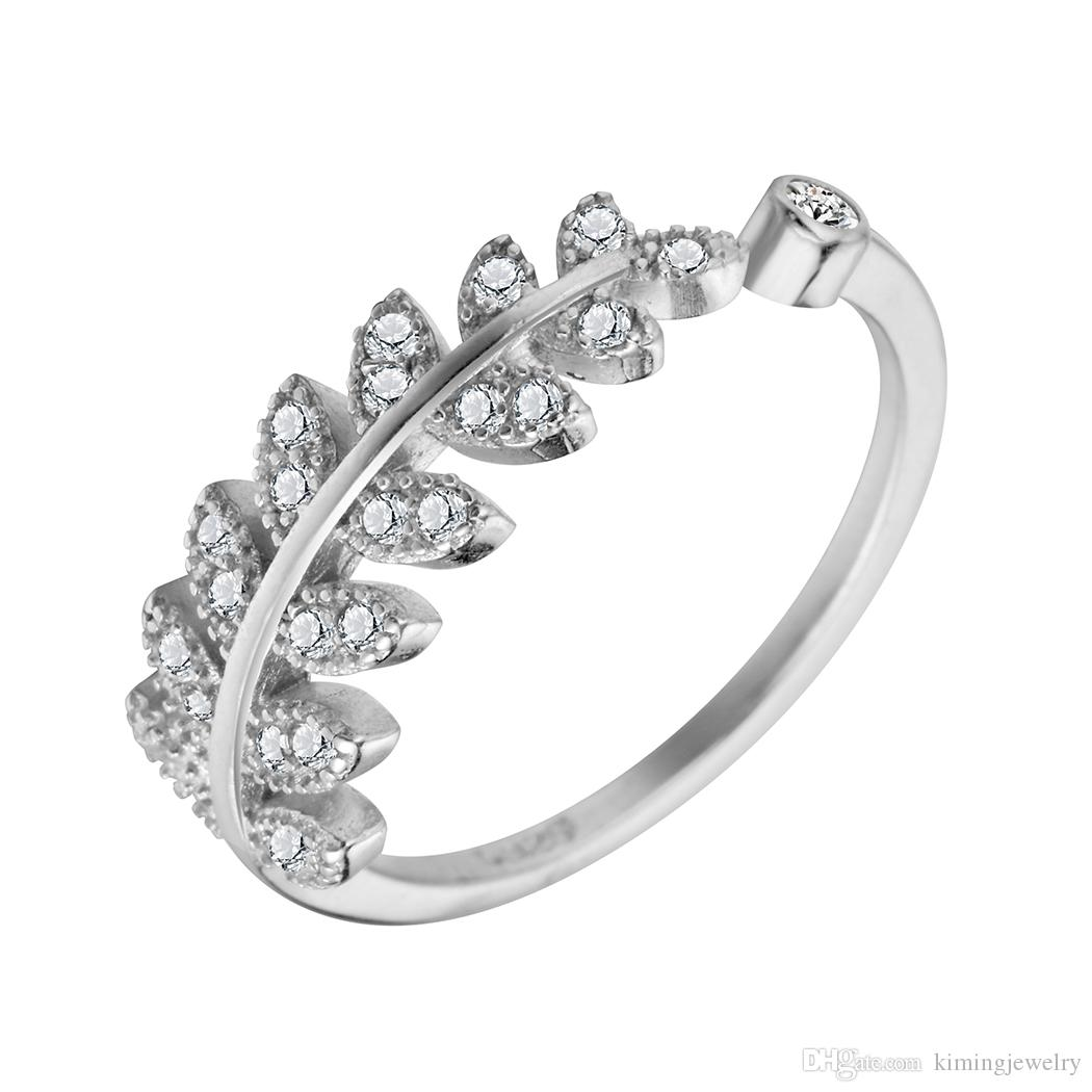 Sterling-Silver-Jewelry Zircon Leaves 925 Sterling Silver Jewelry Adjustable Ring Women Party Engagement Wedding Gift