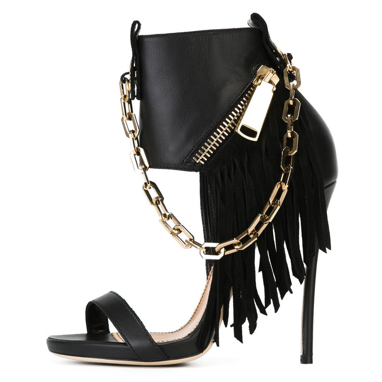5d28a12f6d2d 2017 Fashion New Style Summer Sexy Fringed High Heels Casual Roman Gladiator  Sandals Chains Shoes For Woman Tassels Stilettos Fashion Shoes Shoes For  Sale ...