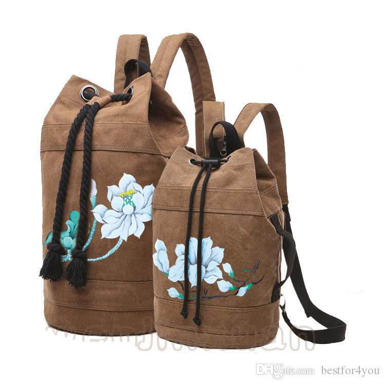 Chinese style hand-painted Bucket type fashion 2 Function Backpacks Canvas Men's Outdoor Backpacks Women Sport Bag drawstring backpack