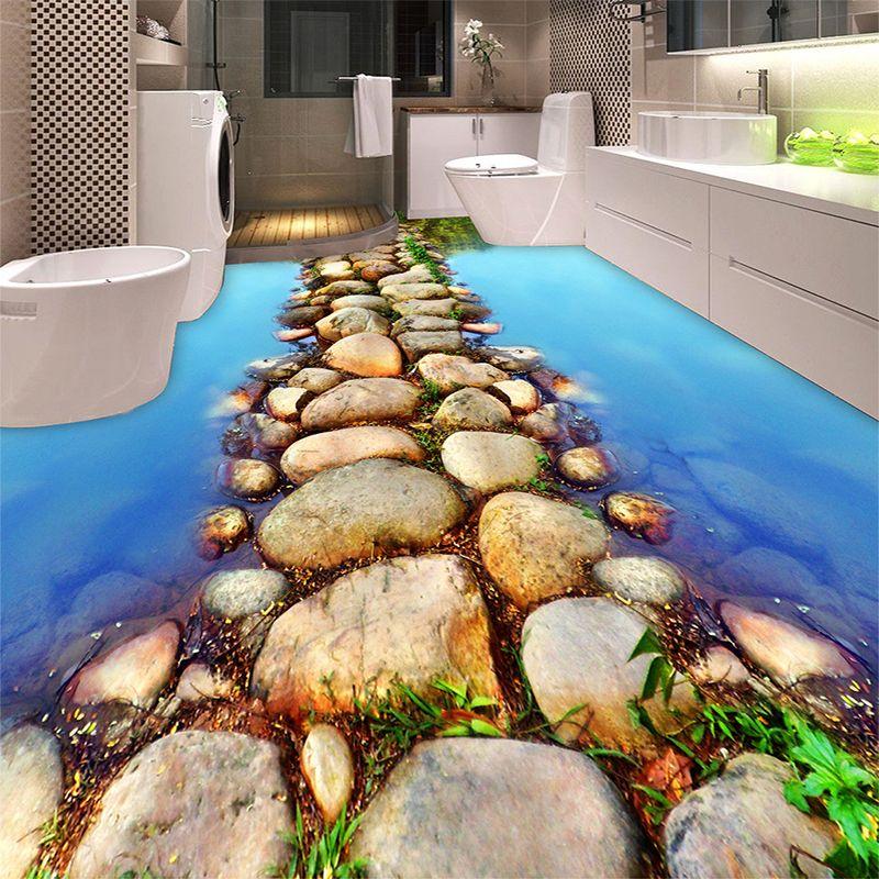 Custom 3d Floor Wallpaper Flowers Road Bathroom Kitchen: Wholesale River Stone Road 3D Flooring Photo Wallpaper