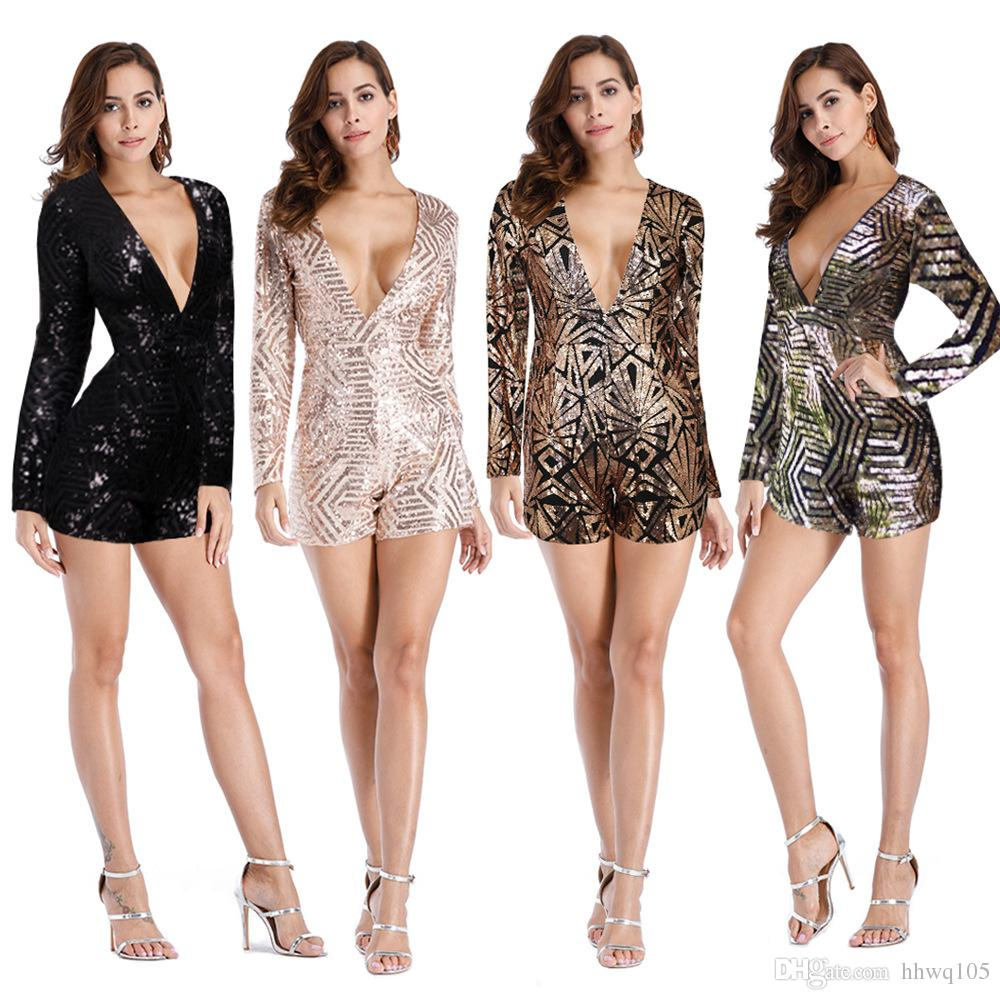 bcef30ae48 Sexy Backless Sequined Jumpsuit Romper Deep V Neck Long Sleeve One Piece  Shorts Ladies Gold Black Party Club Jumpsuits Bodysuit ZSJG1106