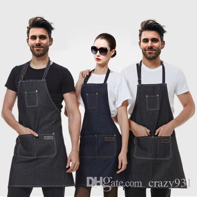 Acquista Cucina Cucina Lavoro Salone Di Bellezza Grembiule Jeans ... 7911e5eac409