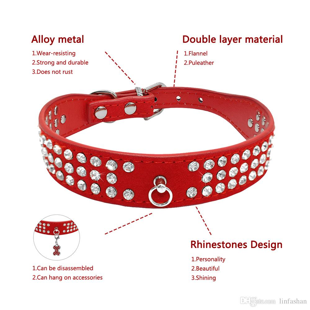 Mixed Brand New suede Leather Dog Collars 3 Rows Rhinestone Dog collar diamante Cute Pet Collars 100% Quality 4 Sizes available