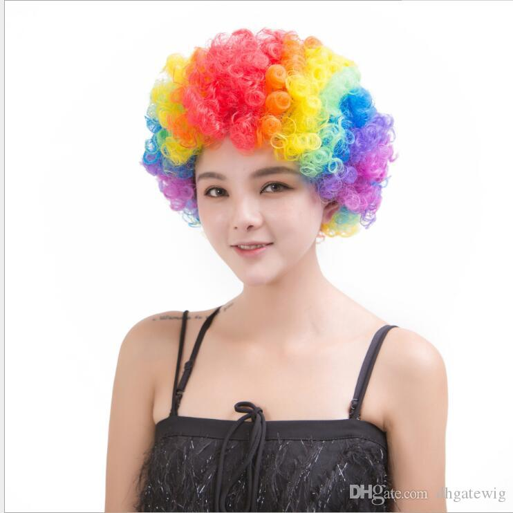 Party Wigs Colorful Afro Clown Hair Child Adult Costume Football Fan ... 7dadc78a108a
