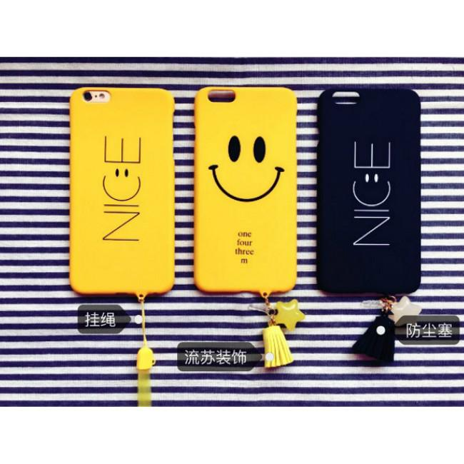 Simple Style Smile Face creative Lanyard lovely Frosted PC hard Case Cover For iphone 6 6s 7 7 Plus Cell Phone Cases