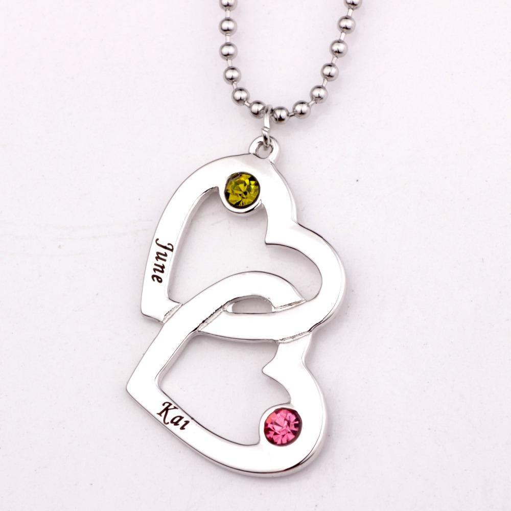 Wholesale wholesale open heart in heart shape necklace with wholesale wholesale open heart in heart shape necklace with birthstones necklaces custom made any name best custom gifts welcome dropshipping yp2490 name aloadofball Choice Image