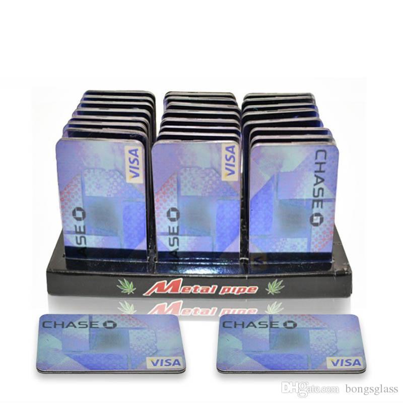 Credit Card Pipe Portable Metal Card Smoking Pipe Gift Shisha Hookah Herb Grinder Rolling Machine