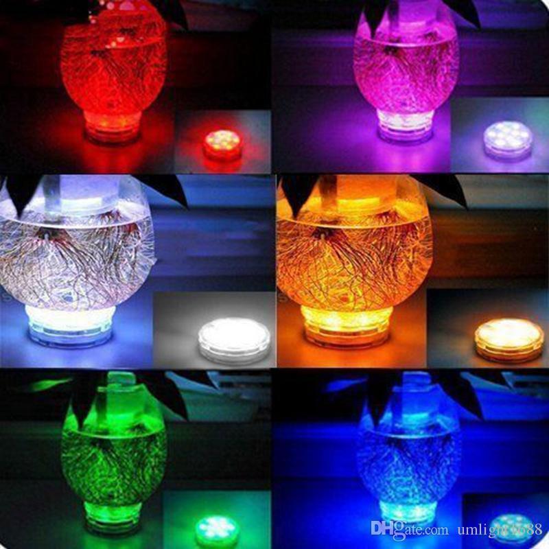 Umlight1688 LED-Tauchleuchten mit batteriebetriebener Fernbedienung Qoolife RGB Multi Farbwechsel Wasserdichtes Licht für Vasenbasis, Floral,