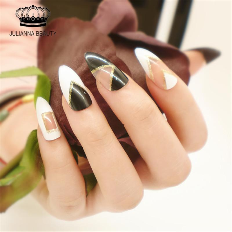 Wholesale Stiletto Fake False Nail Tips Full Cover Fake Almond Nail ...