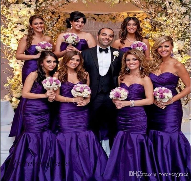 2017 Purple Mermaid Long Bridesmaid Dress Country Garden For Western ...