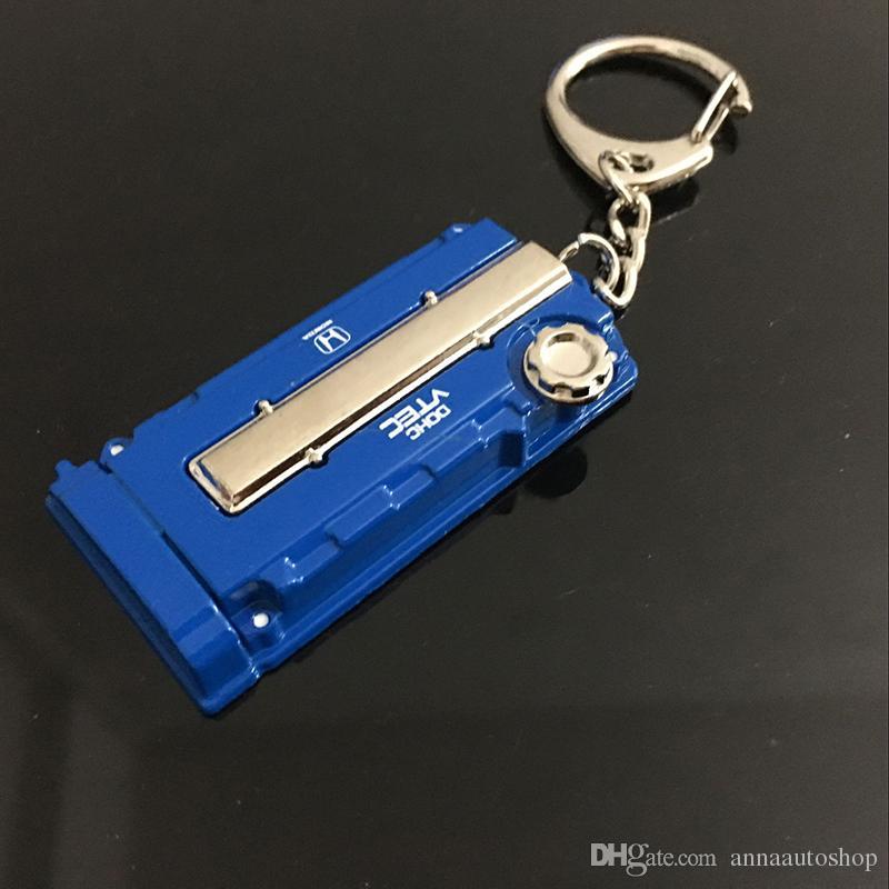 2016 in lega di zinco auto da corsa portachiavi ricambi auto modificato portachiavi catena chiave del motore Honda EK / EG coperchio della valvola del motore Chaveiro Llavero penna chiave
