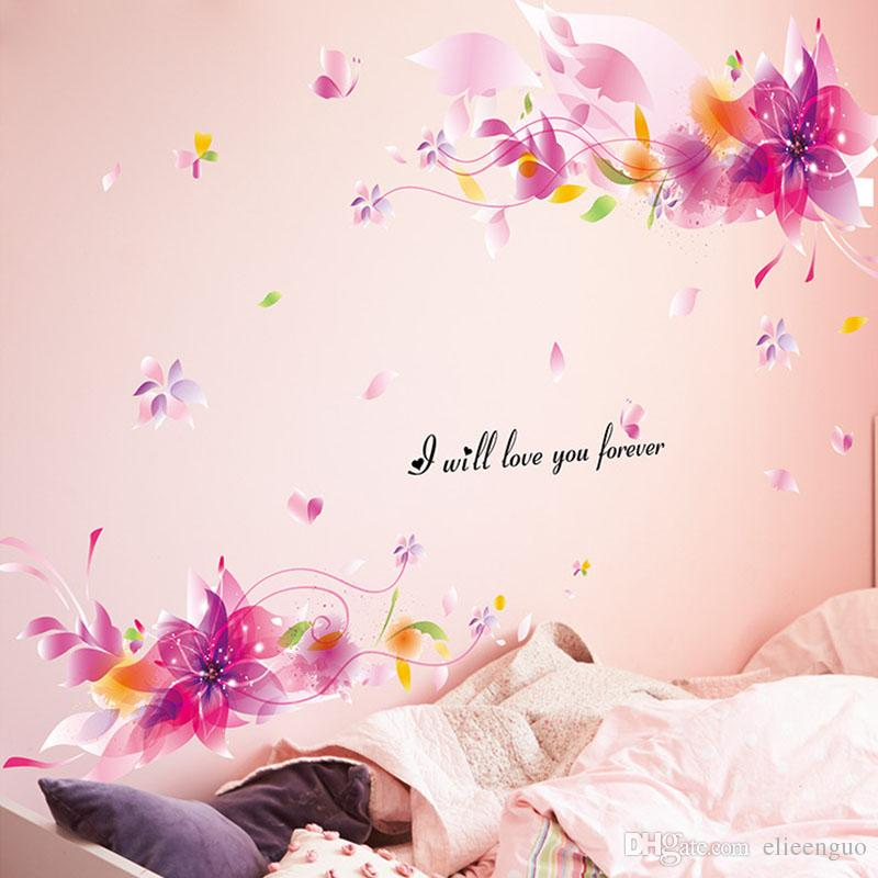 Pink Fantasy Flowers Wall Sticker Creative Interior Design Wall